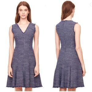 Rebecca Taylor Blue Tweed Fit and Flare Dress 6